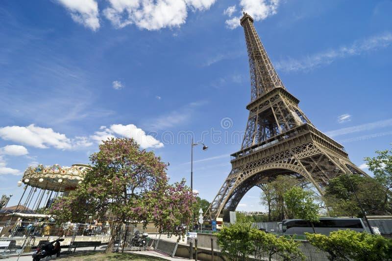 Europa, Paris, Kreuzfahrt auf der Seine auf den Bateaux Mouches, der Eiffelturm stockbild