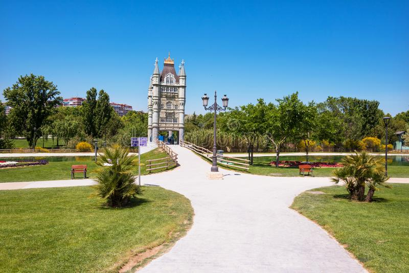 Europa park in Torrejon de Ardoz, Madrid, Spain. Its an urban park where are represented with scaled monuments stock images