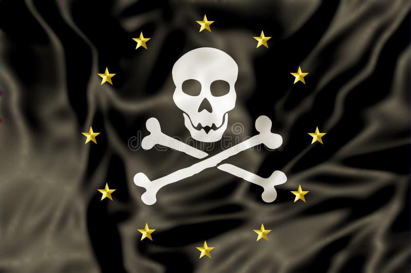 Europa piratkopierar flaggan vektor illustrationer