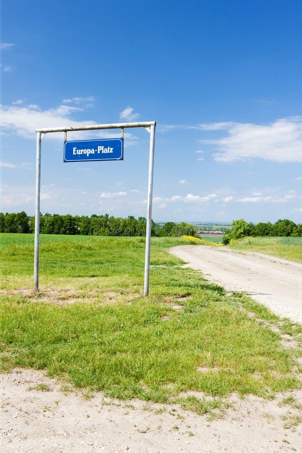 Europa Platz, Grenze zwischen Tschechischer Republik und Österreich stockbild