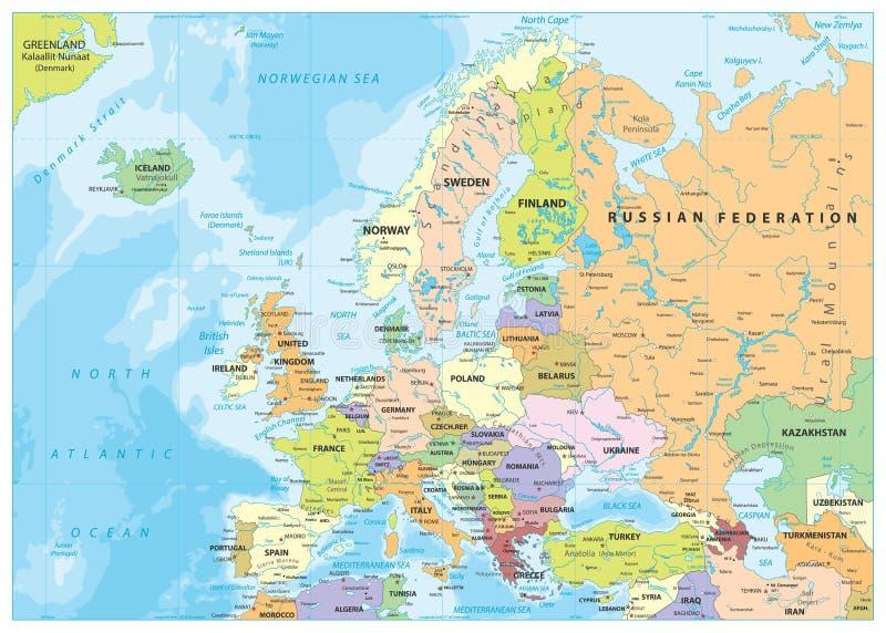 Europa politisk översikt och Bathymetry royaltyfri illustrationer