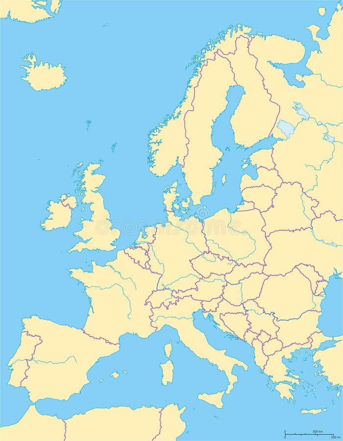 Europa politisk översikt och omgeende region royaltyfri illustrationer