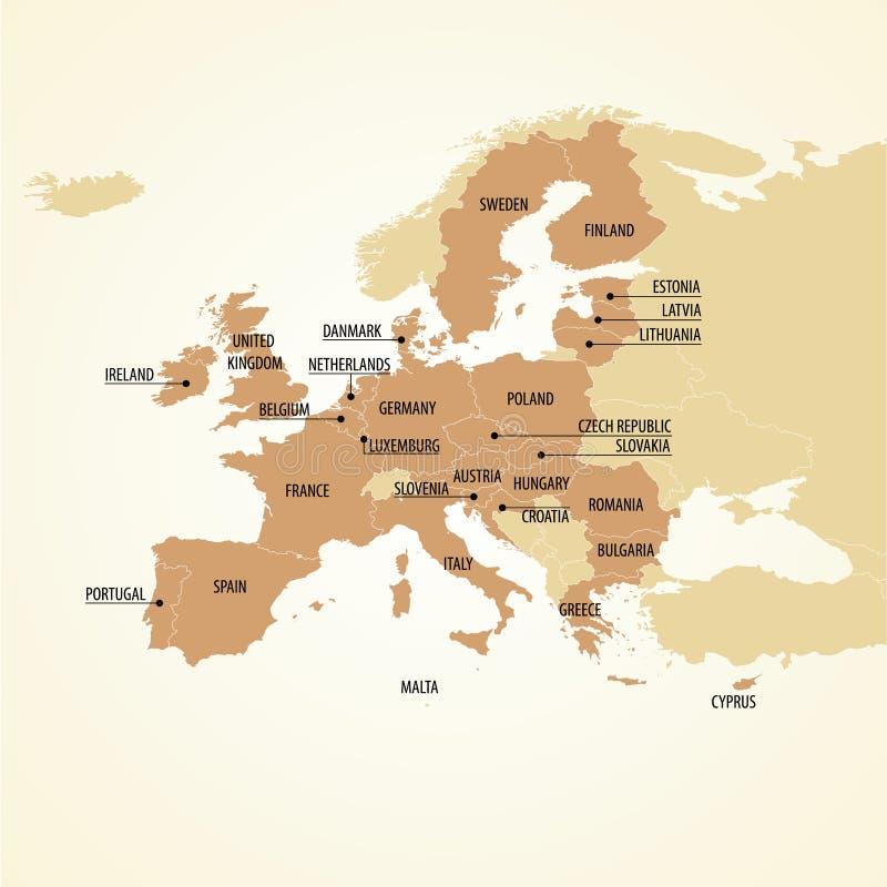 Europa Polityczna mapa ilustracji