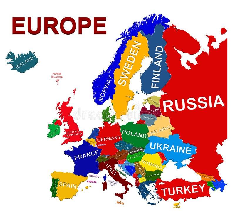 Download Europa Polityczna mapa ilustracja wektor. Ilustracja złożonej z niemcy - 53791368