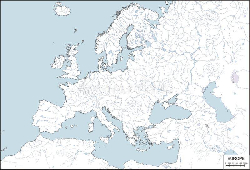 Europa - programma di profilo con i fiumi ed i laghi illustrazione di stock