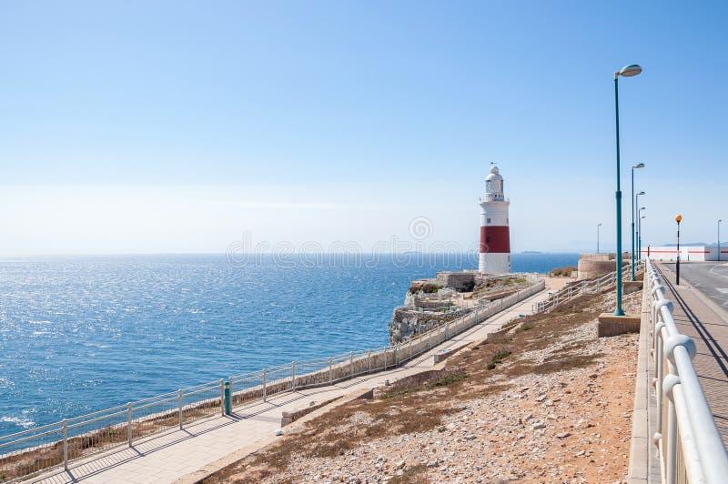 Europa-Punkt-Leuchtturm auf Gibraltar stockfotos