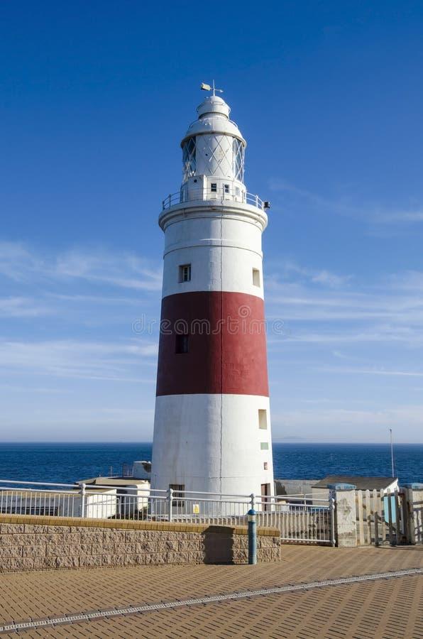Europa-Punkt-Leuchtturm u. x28; Dreiheits-Leuchtturm oder Victoria Tower u. x29; gibraltar lizenzfreie stockfotografie