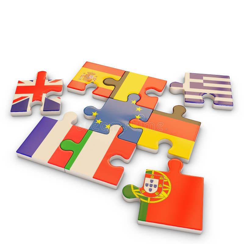 Europa pusselflagga vektor illustrationer