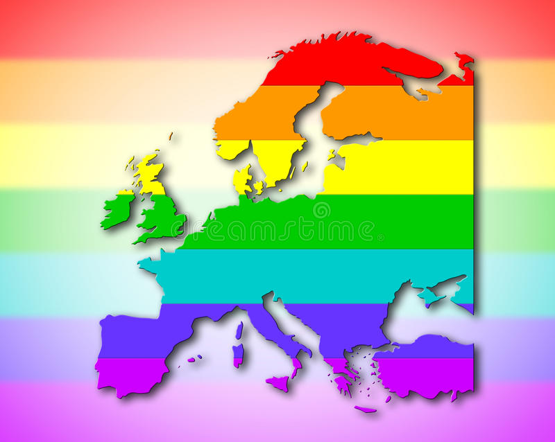 Europa - Regenbogenflaggenmuster stock abbildung
