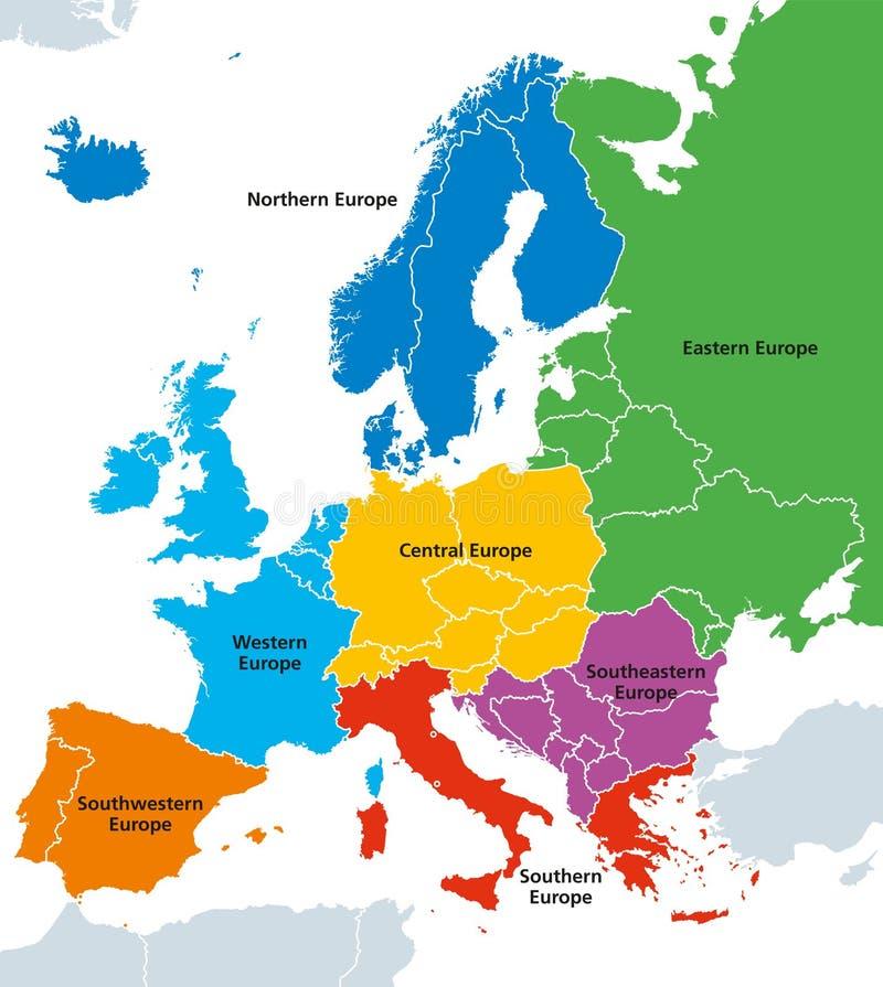Europa-Regionen, politische Karte, mit einzelnen Ländern lizenzfreie abbildung