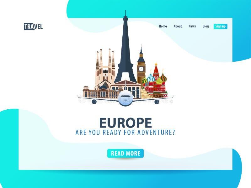 Europa Resa banret eller rengöringsdukmallen för webbplats eller landningsida tid att löpa Illustration för vektor UI stock illustrationer
