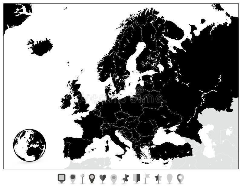 Europa-Schwarz-Karte und flache Karten-Markierungen lizenzfreie abbildung