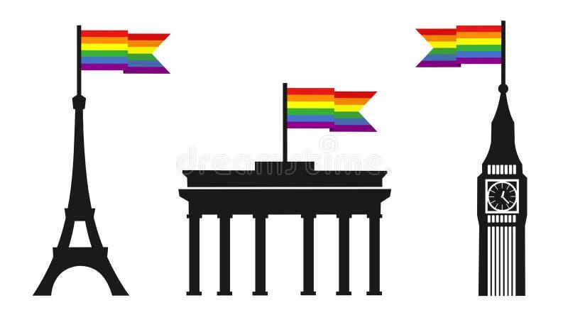 Europa st?ttar sexuell riktning f?r homosexuell b?g och lesbisk kvinna stock illustrationer