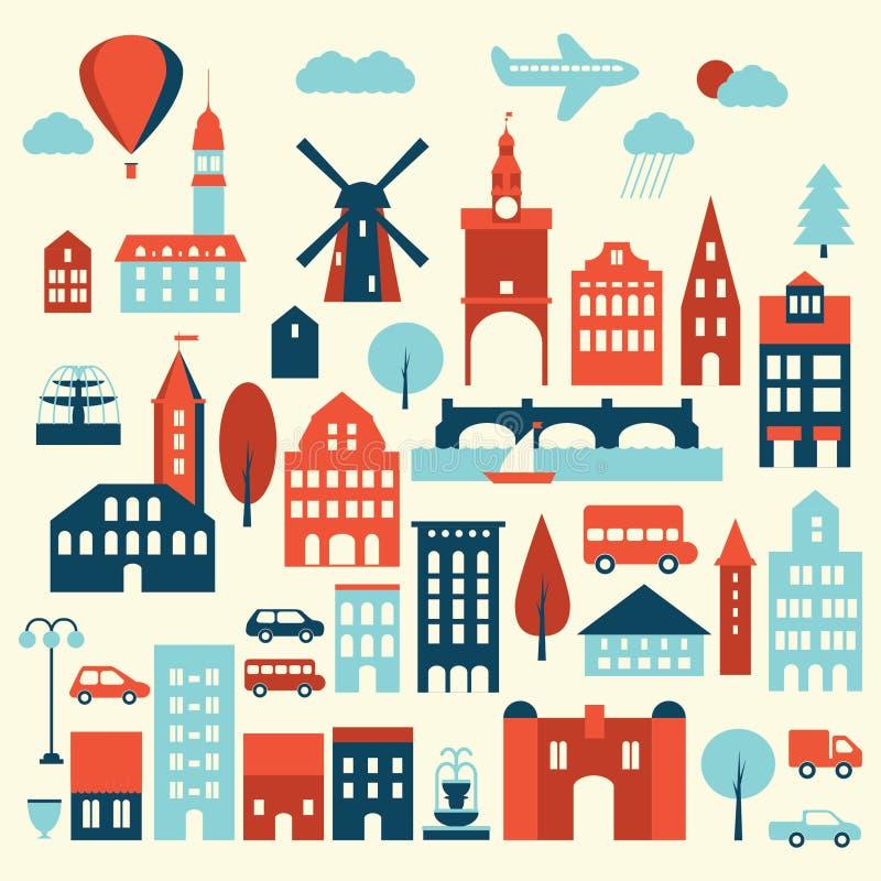 Europa stadssymbol royaltyfri illustrationer