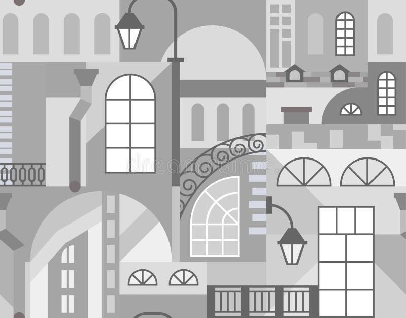 Europa stary miasteczko Kolorowa sztuki mozaika bezszwowy wzoru ilustracja wektor