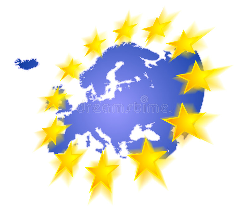 Europa stjärnor royaltyfri illustrationer