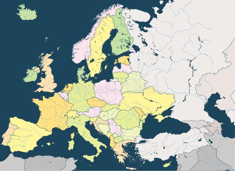 Europa su ha dettagliato la mappa politica con i fiumi principali Tutti gli elementi separati negli strati staccabili illustrazione vettoriale