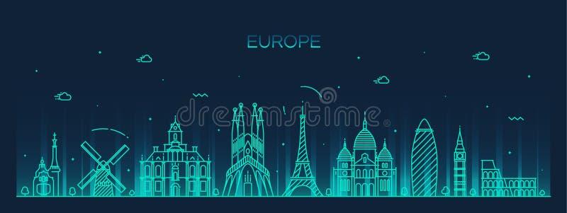 Europa sylwetki kreskowej sztuki linia horyzontu wyszczególniający styl royalty ilustracja