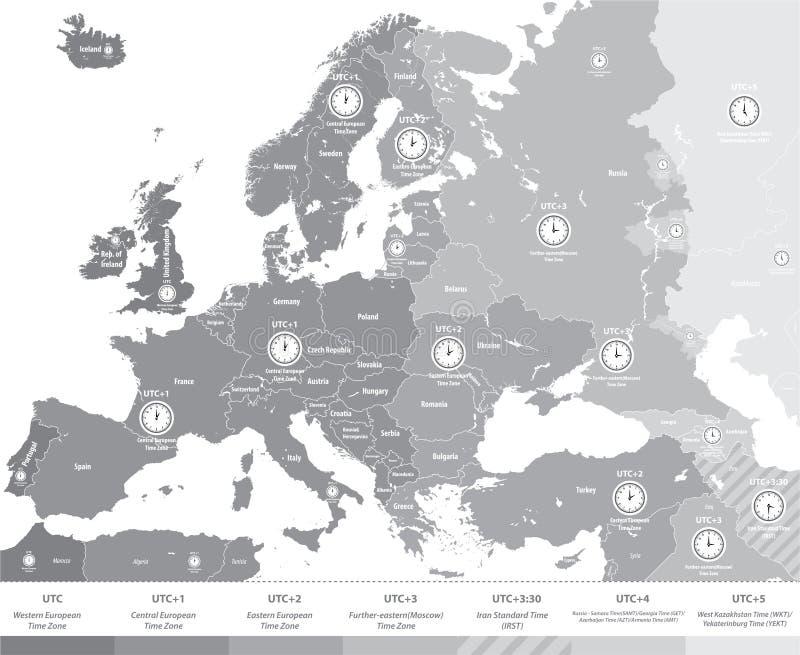 Europa tidszonöversikt i grå våg med läge- och klockasymboler stock illustrationer