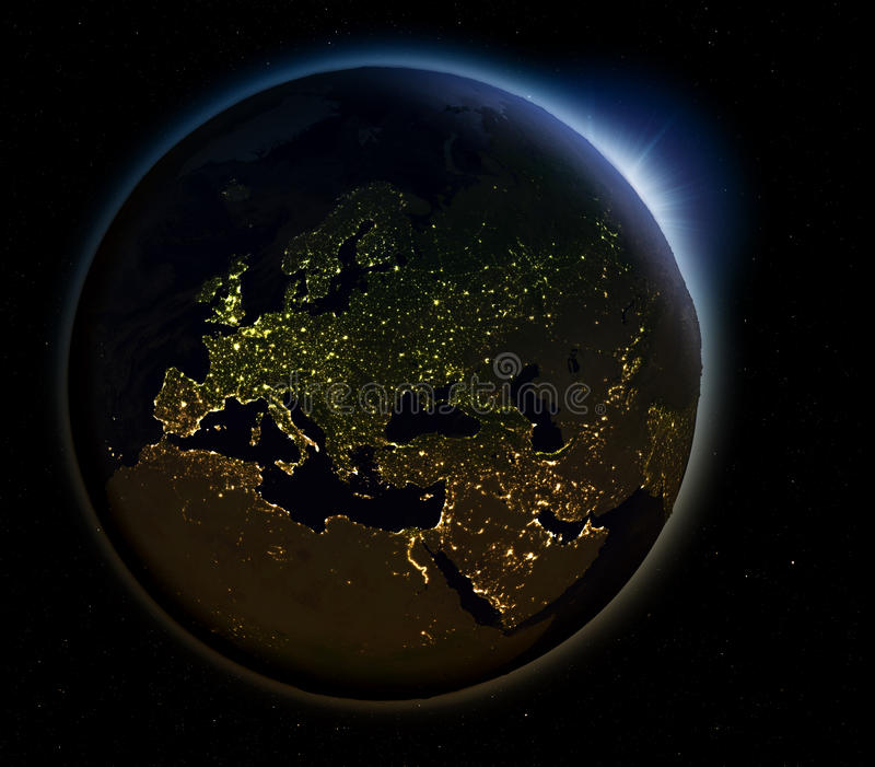 Europa van ruimte bij nacht stock illustratie
