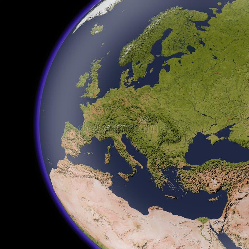 Europa van ruimte, in de schaduw gestelde hulpkaart.