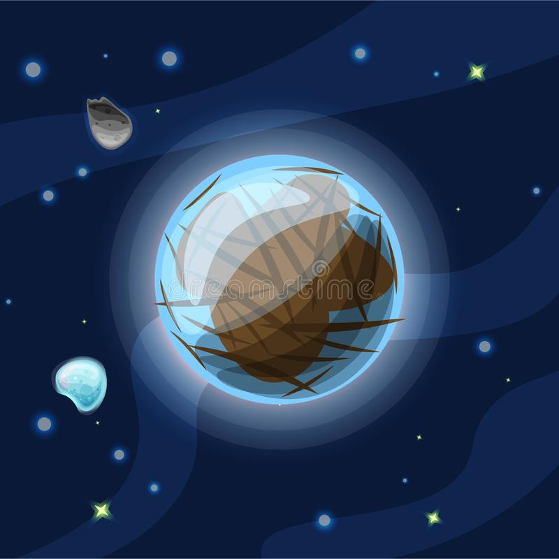 Europa, vector cartoon illustration. Blue and brown Jupiter Moon of Solar system in dark deep blue space, isolated on vector illustration