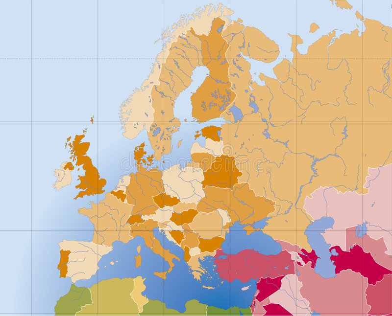 Europa-vektorkarte vektor abbildung