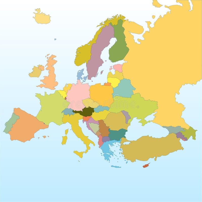 Europa-vektorkarte lizenzfreie abbildung