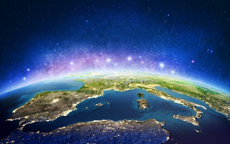Europa von den Raumgalaxiesternen Wiedergabe 3d stock abbildung