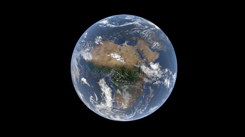 Europa y África detrás de las nubes en un globo realista, tierra aislada en un fondo negro, 3d representación, los elementos de e ilustración del vector