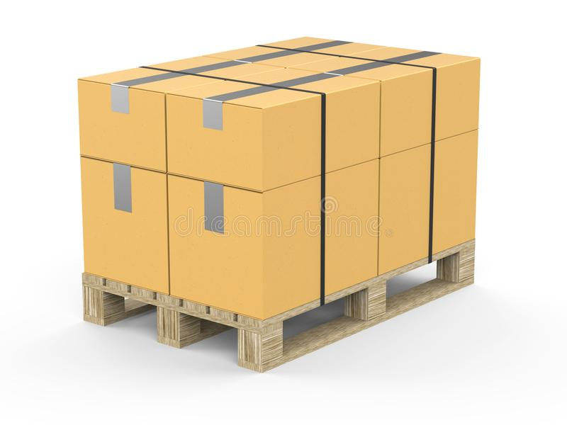 Europallet with packed boxes tied with ribbon. Packing on a wooden pallet. 3d illustration. Europallet with packed boxes tied with ribbon. Packing on a wooden royalty free illustration