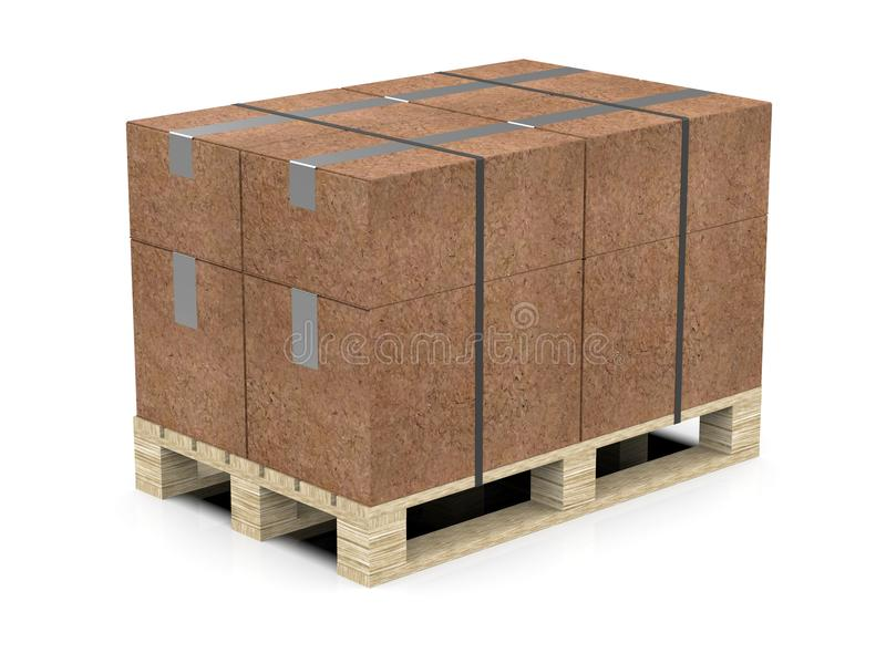 Europallets with packed boxes of recycled material, tied with a ribbon. 3d illustration. Europallets with packed boxes of recycled material, tied with a ribbon royalty free illustration