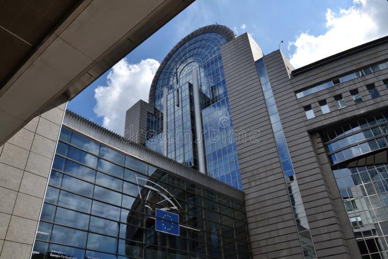 Europaparlamentetbyggnad i Bryssel, Belgien royaltyfri fotografi
