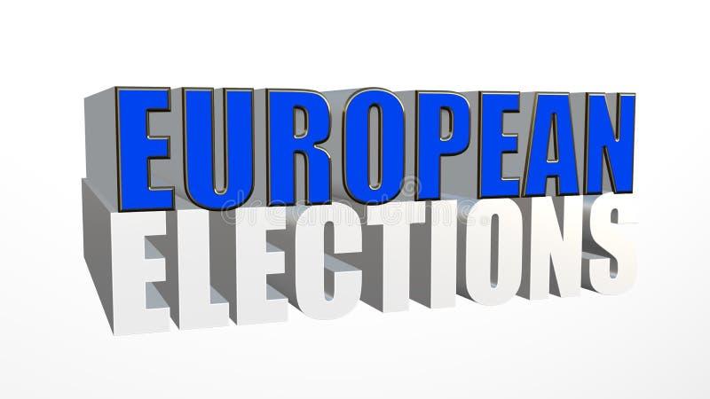 Europawahlen in 3D auf weißem Hintergrund lizenzfreie abbildung