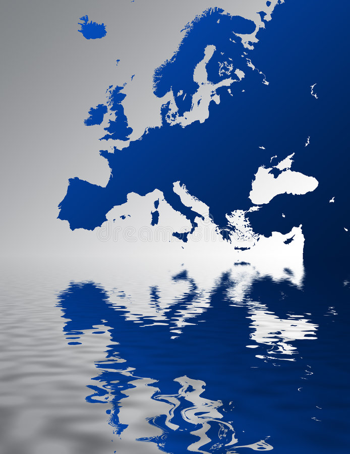 Europe. Map of Europe with reflection vector illustration