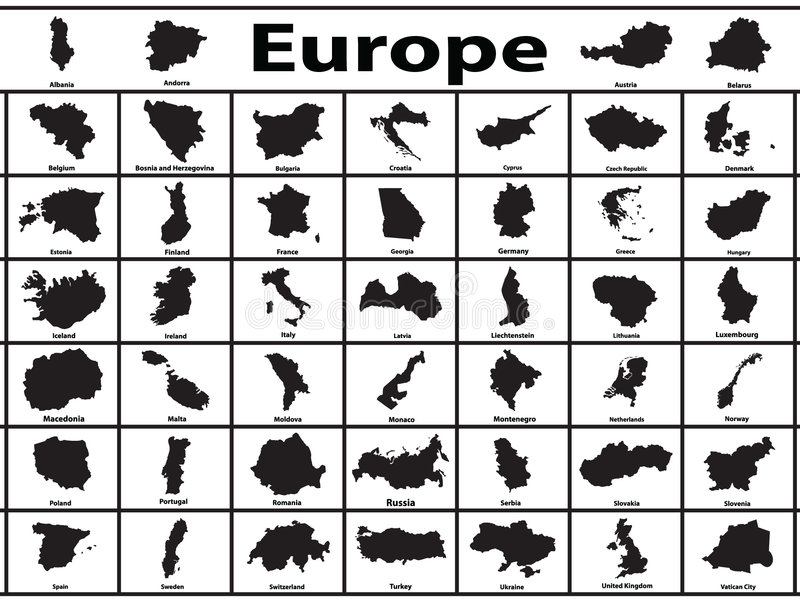 Europe. Vector silhouettes of European countries royalty free illustration