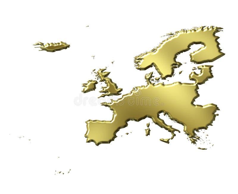 Europe 3d Golden Map