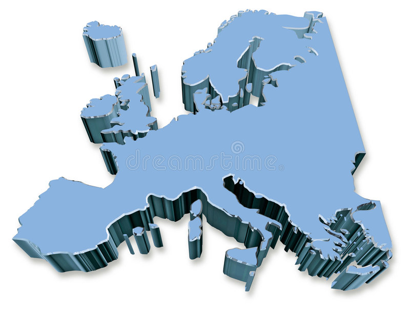Europe. 3D Europe map in blue, with shadow, on a white background stock illustration