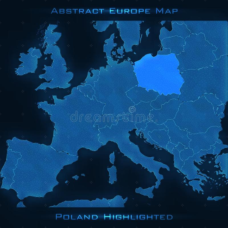 Europe abstract map. Poland highlighted. Vector background. Futuristic style map. stock illustration