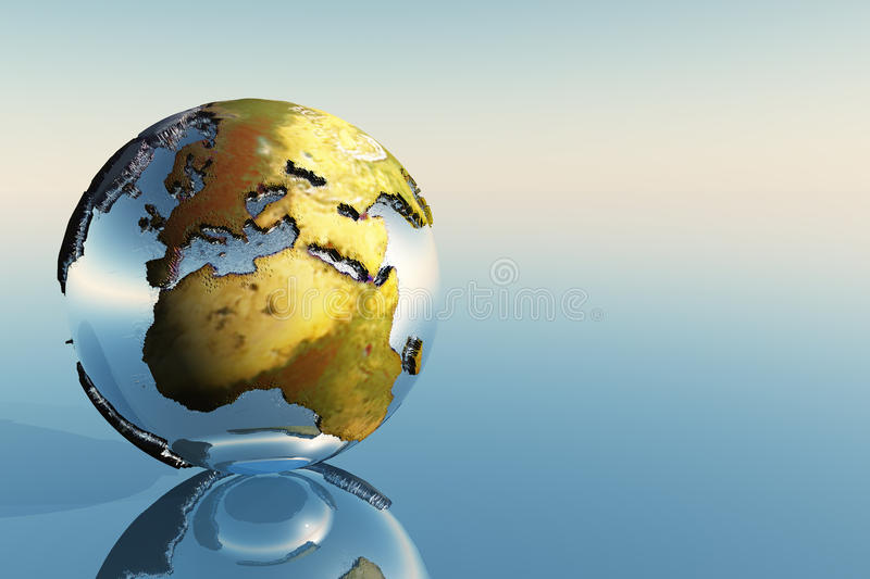 Europe and Africa. A world globe showing the continents of Europe, Middle East and Africa vector illustration