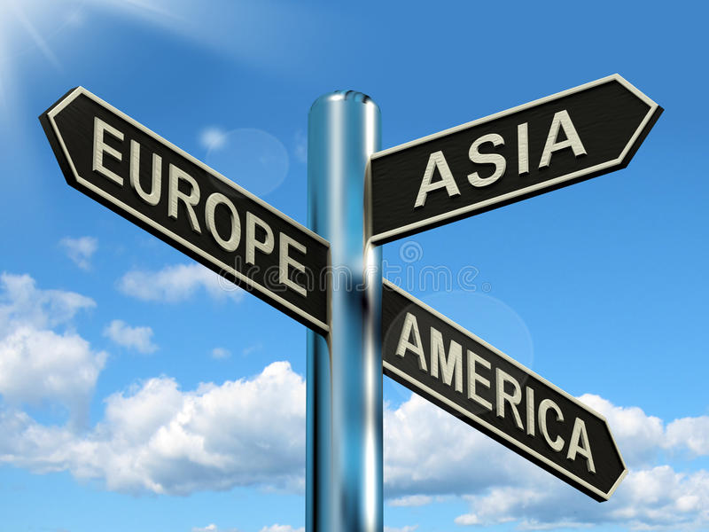 Europe Asia America Signpost. Shows Continents For Travel Or Tourism vector illustration
