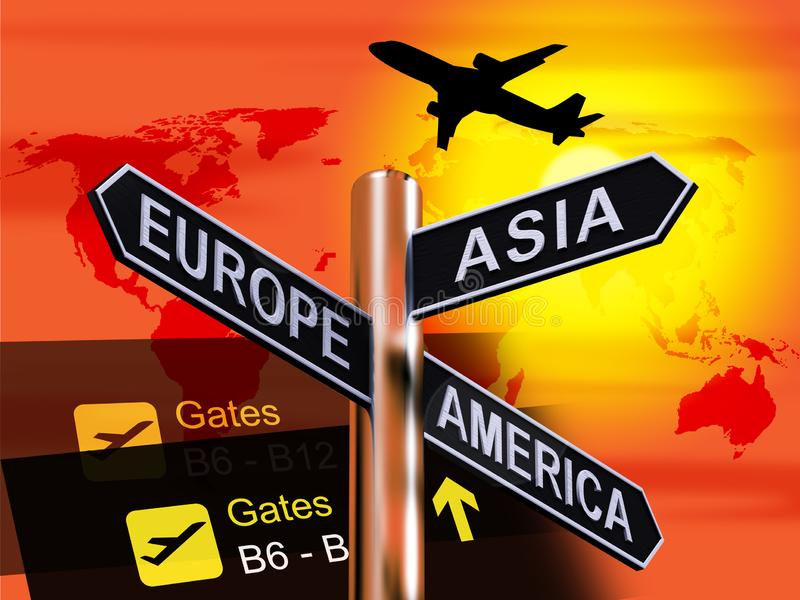Europe Asia America Signpost Showing Continents For Travel 3d Il. Europe Asia America Signpost Shows Continents For Travel 3d Illustration vector illustration