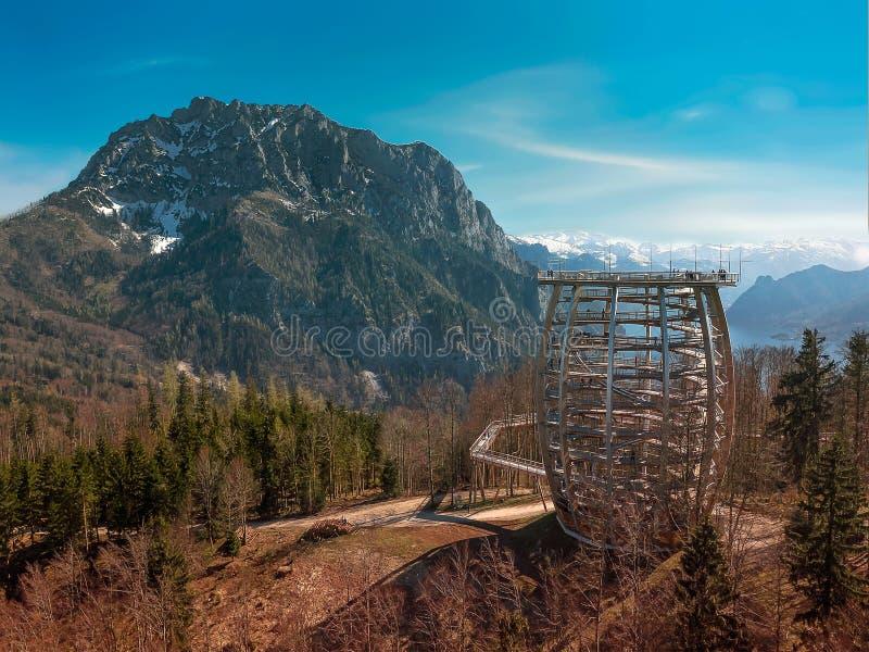 Europe Austria view tower next to Grünberg city. Traunsee Gmunden city Grünberg city Traunstein mountain royalty free stock image