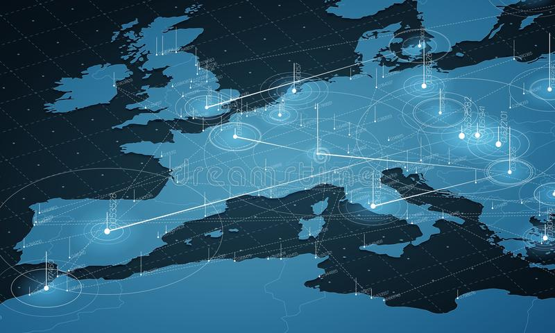 Europe blue map big data visualization. Futuristic map infographic. Information aesthetics. Visual data complexity. Complex europe data graphic visualization royalty free illustration