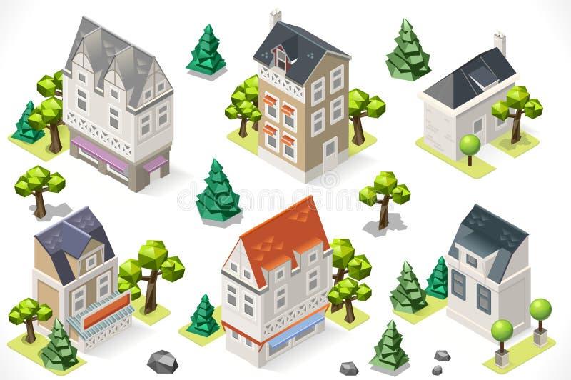 Europe Building Set Tint Cartoon Isometric 3d stock illustration