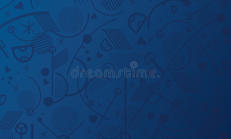 Championship soccer 2018 uefa. Europe championship Soccer abstract blue background with sport symbols. Euro 2016 France football championship pattern blue color