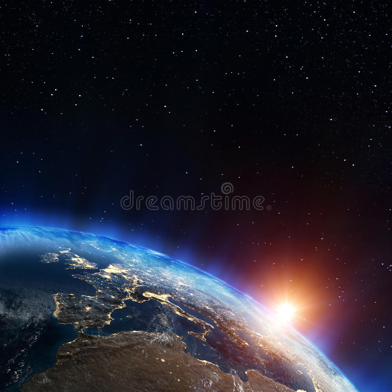 Europe city lights. Elements of this image furnished by NASA vector illustration