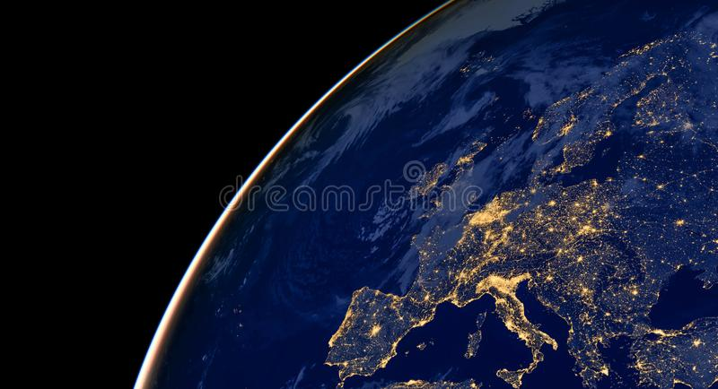 city lights on world map with a location pin on london europe elements of this image are furnished by nasa