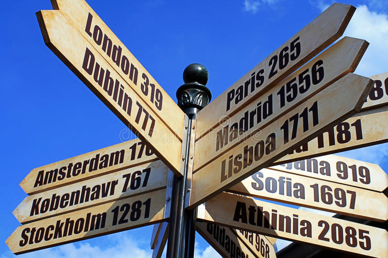 Download European Cities Distance Travel Sign Stock Photo - Image: 24547660