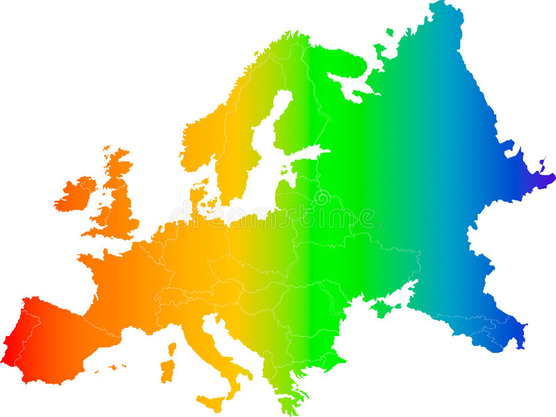 Europe color vector map. Abstract europe color vector map on white stock illustration
